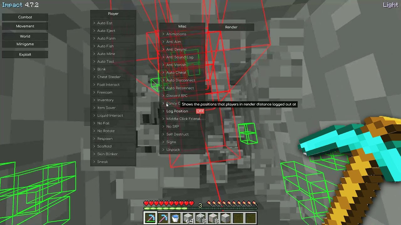 Minecraft Hacked Client but I use it to test my staff