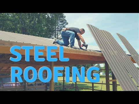 Installing Amish Steel Roofing on a Pole Barn - Shop Build Part 12