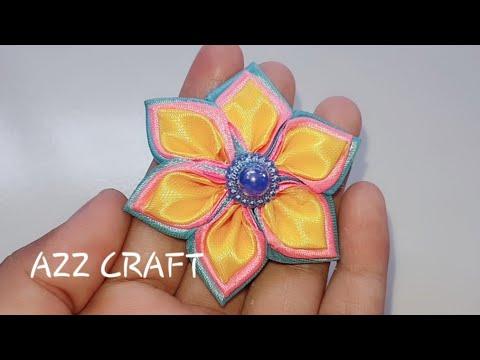 DIY -  Cara Membuat Kerajinan Bros Dari Pita - Azz12