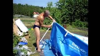 Збірка каркасного басейну   Як встановити басейн на дачі BestWay 56088 366х122. Відео збірки