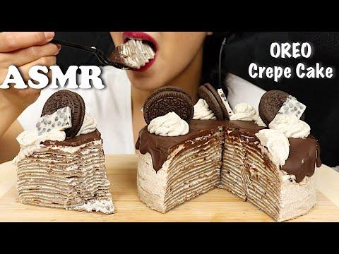 ASMR OREO CREPE CAKE   COOKIES & CREAM   EXTREME EATING SOUNDS   NoTalking   Chele ASMR
