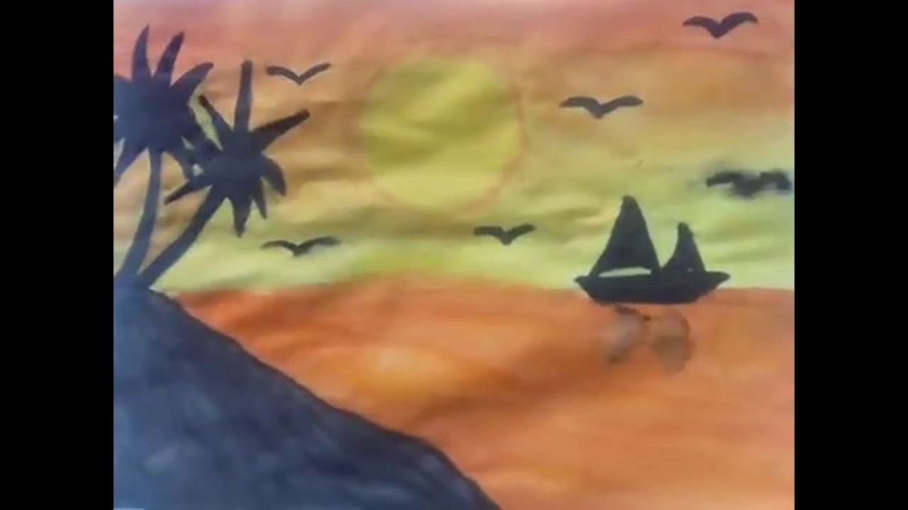 Sulu Boya Gun Batimi Cizimi Youtube