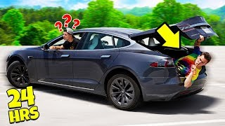 Hiding In Preston's TESLA For 24 Hours!