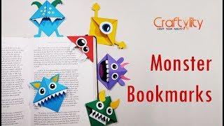 DIY Easy Paper Monster Corner Bookmarks for kids | Cute Monster Bookmarks | DIY bookmarks for Kids