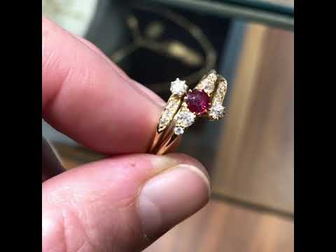 Antique Edwardian ruby and diamond bypass ring in 18-carat yellow gold