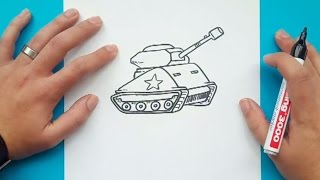 Como dibujar un tanque paso a paso | How to draw a tank