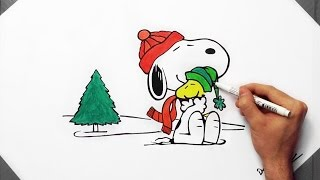 How To Draw Snoopy - The Peanuts Movie | Winter Edition Speed Drawing