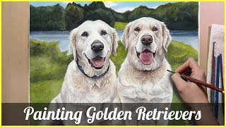 Painting Golden Retrievers in Watercolor (Lillee and Brady)