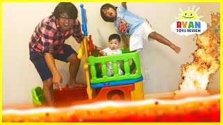 THE FLOOR IS LAVA CHALLENGE! Ryan ToysReview Family Fun Kids Pretend Playtime