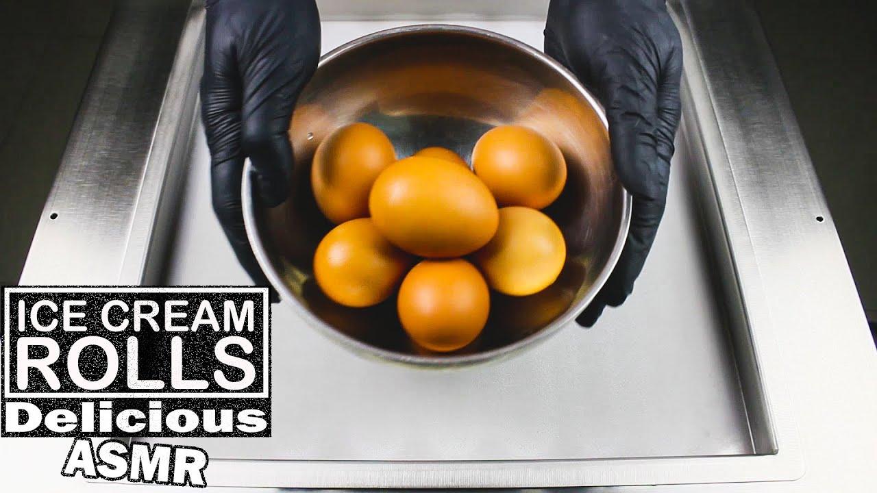 ASMR - How To Make Egg Ice Cream Rolls ? 如何制作鸡蛋冰淇淋卷 ?