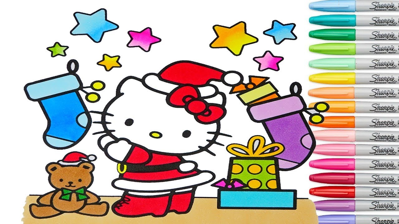 Christmas hello kitty coloring pages holiday colouring markers colored paint sanrio rainbow splash