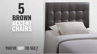 Top 10 Brown Accent Chairs [2018]: Modway Lily Upholstered Tufted Vinyl Headboard Twin Size In Brown