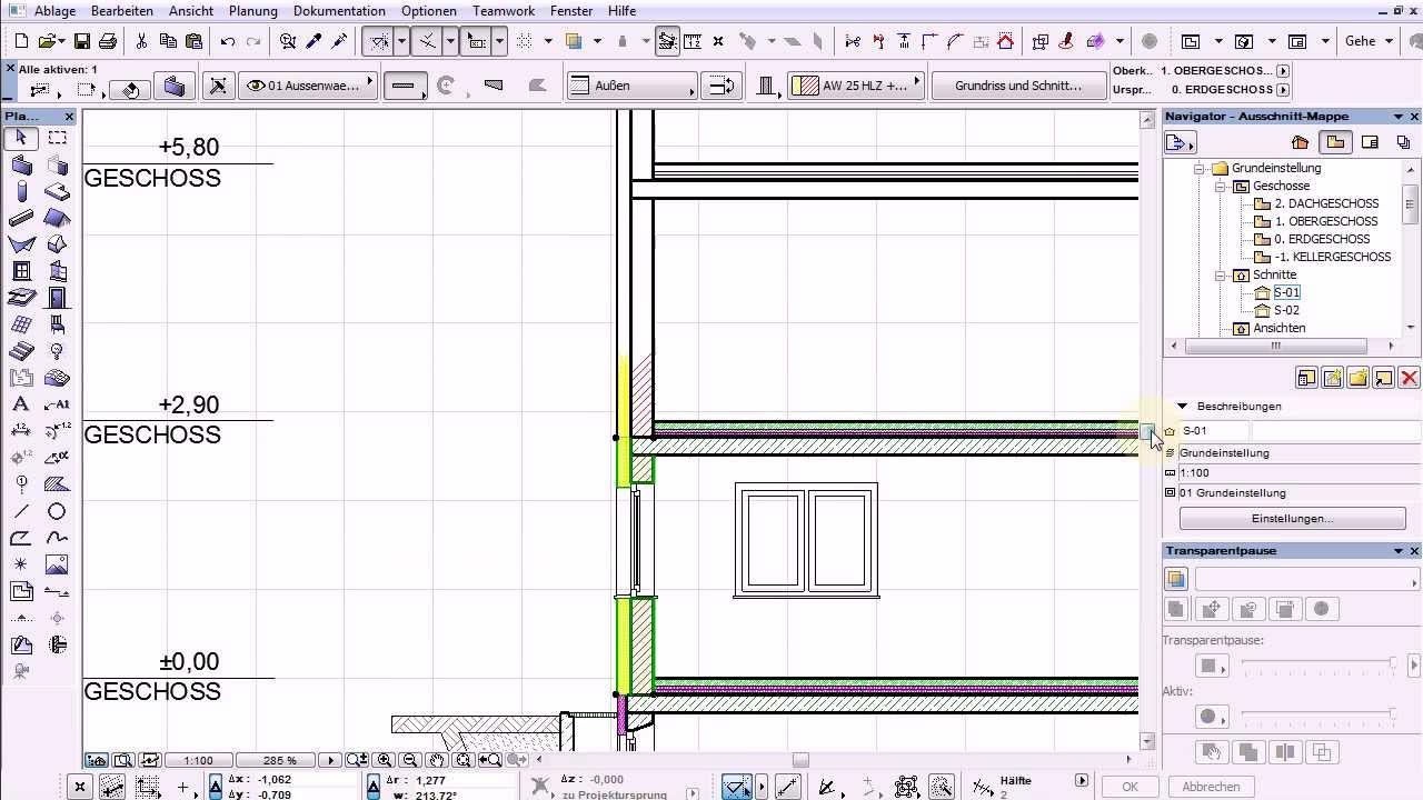 archicad 17 test3 t ren und schichten fu bodenaufbau im schnitt youtube. Black Bedroom Furniture Sets. Home Design Ideas