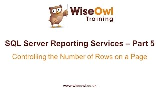 Reporting Services (SSRS) Part 5 - Controlling the number of rows per page
