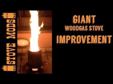 Giant woodgas stove improvement