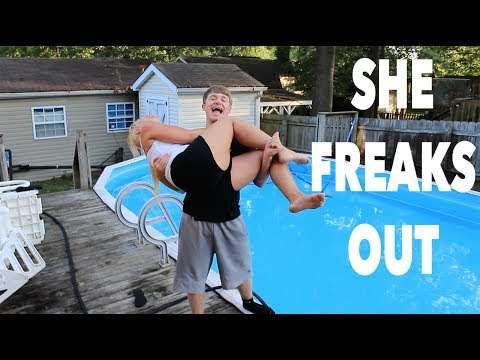 THREW CRAZY MOM IN THE POOL!!
