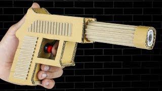 How to make Cardboard Gun USP Pistol that shoots Rubber Bullets DIY