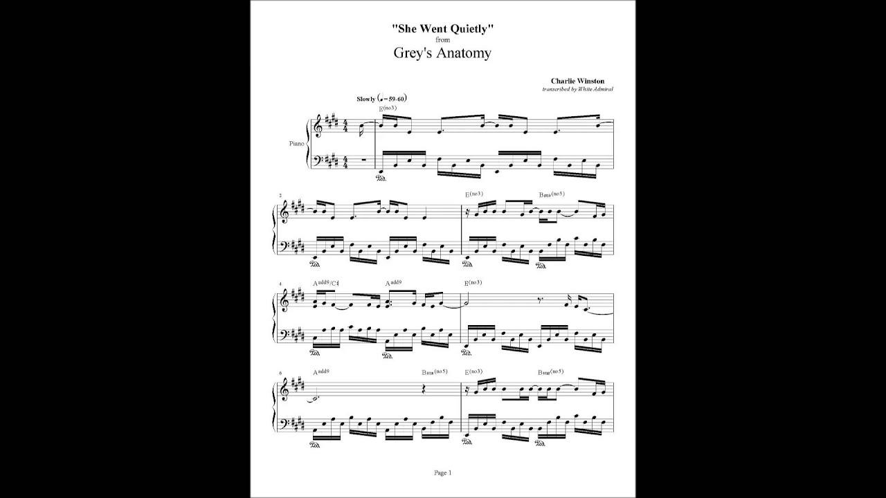 Greys Anatomy She Went Quietlly Piano Arrangement 2 Youtube