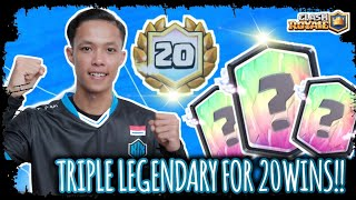 20WINS NO TILT CHALLENGE WITH THIS TRIPLE LEGENDARY DECK!! - Clash Royale Indonesia