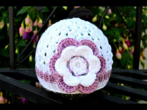 How To Crochet A Flower For A Baby Hat Youtube