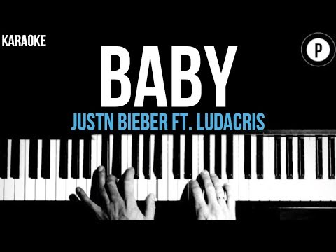 Justin Bieber - Baby Ft. Ludacris Karaoke SLOWER Acoustic Piano Instrumental Cover Lyrics