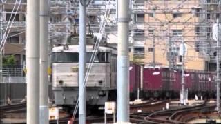 EF81-303 高速貨4081列車 千早操車場でのエンド交換風景