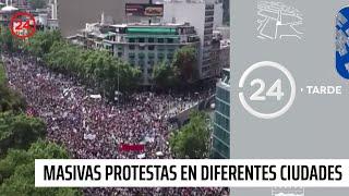 Masivas protestas se registran en diferentes ciudades del país