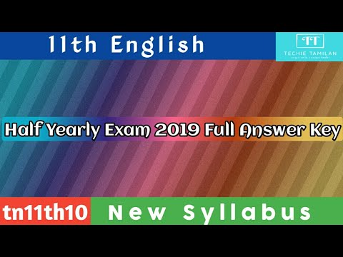 11th English Half Yearly Full Answer Key 2019