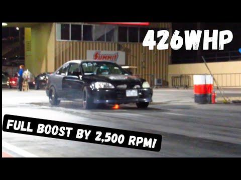 Turbo Junkyard J35 V6 Civic Makes Its FASTEST 1/4 Mile Pass Yet!!