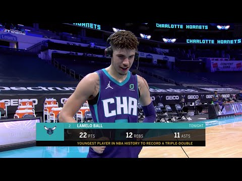 LaMelo Ball Reacts To Becoming The Youngest Player In NBA History To Post Triple-Double
