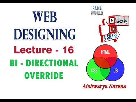 LECTURE - 16 - Bi Directional Override (BDO) - Right To Left (rtl) - HTML  - WEB DESIGNING