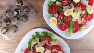 Салат с куриной грудкой и томатами чери