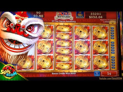 Lion Festival HUGE BONUS Over $1000 !!! 1c Konami Slot - Xtra Reward - in Casino