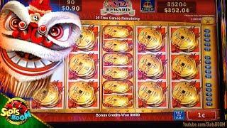 Lion Festival HUGE BONUS Over $1000 !!! 1c Konami Slot - Xtra Reward - in Casino