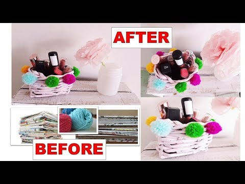 DIY PAPER BASKET ORGANIZER/ NEWSPAPER TUBES CRAFT/ POMPOM TUTORIAL