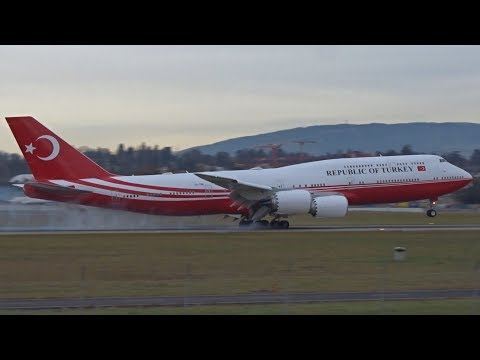 Turkey Government Boeing 747-8(BBJ) Landing At Geneva/GVA/LSGG