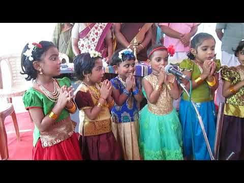 Kids singing prayer at Anganwadi aniversary 2018
