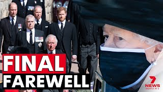 Queen Elizabeth and her family attend the funeral of Prince Philip at St George's Chapel | 7NEWS