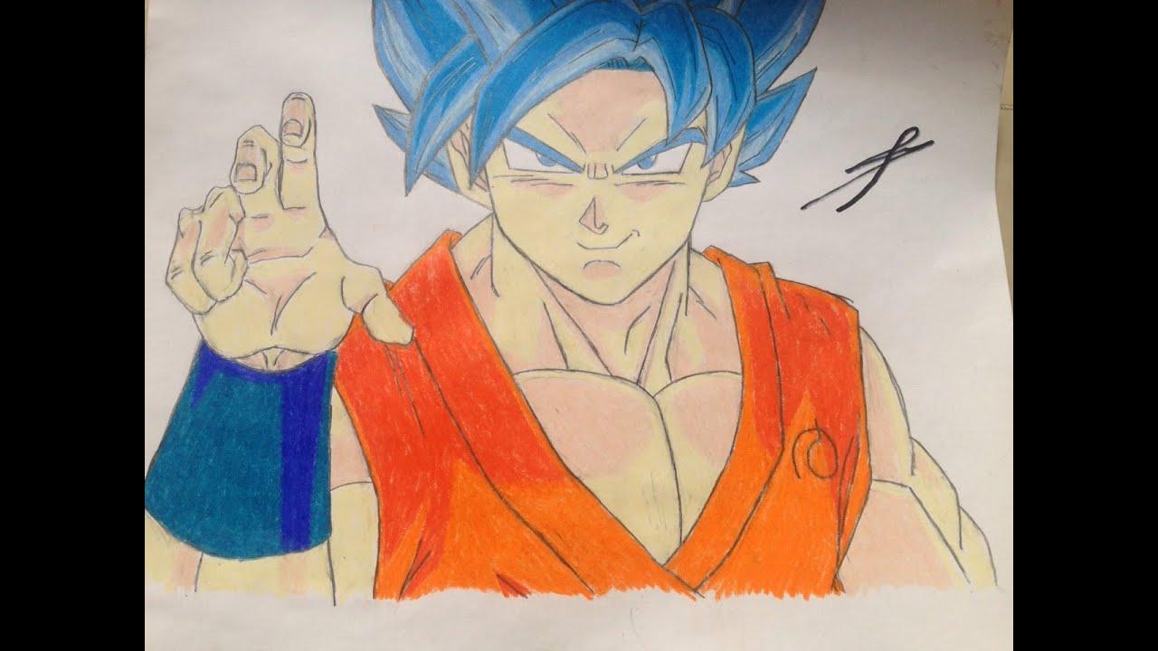 Speed drawing Goku SSGSS/Dibujo de Goku SSJ DIOS SSJ - YouTube