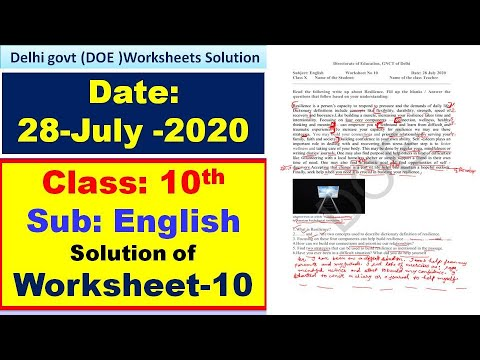 Doe Worksheet 10 Solution Class 10th English 28 July 2020 Youtube