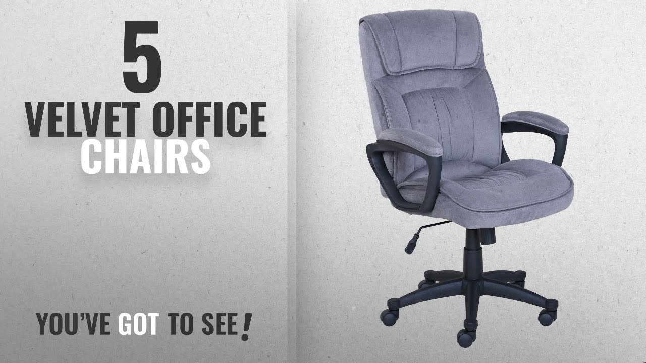 Top 10 Velvet Office Chairs [2018]: Serta Executive Office Chair In Velvet  Gray Microfiber, Black