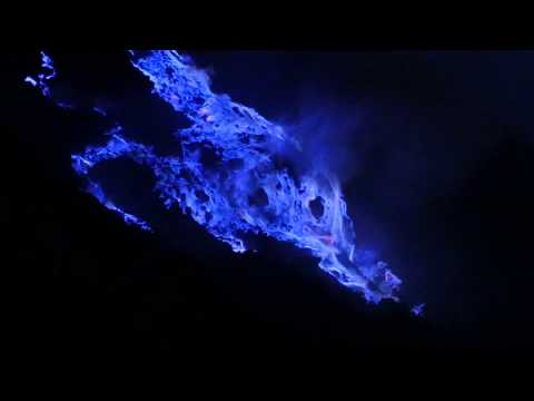 Kawah Ijen: blue fire from burning sulfur