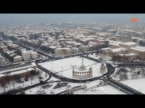 Snow in Budapest: aerial footage shows the Hungarian winter wonderland