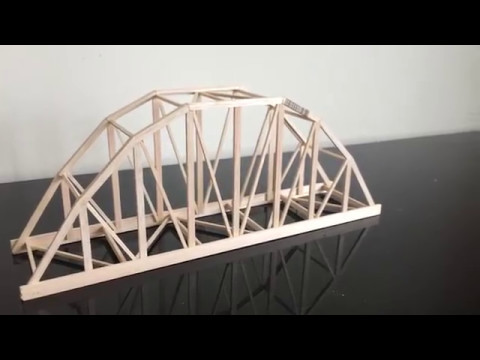 Balsa Wood Parker Truss Model Bridge Construction Time-Lapse
