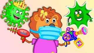 Lion Family 🍒 Wash your Hands #5. Children's Story about viruses | Kids Stay at Home