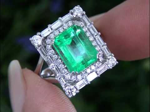 y Angelina Jolie Certified Colombian Emerald & VVS Diamond Ring