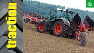 traction-Vergleich: Front- und Heckpflugkombi vs. Aufsatteldrehpflug