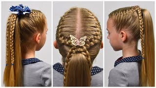 2 Quick & Easy hairstyles with FRENCH braid ★ Back to School ★ Little girls hairstyles #87 #LGH