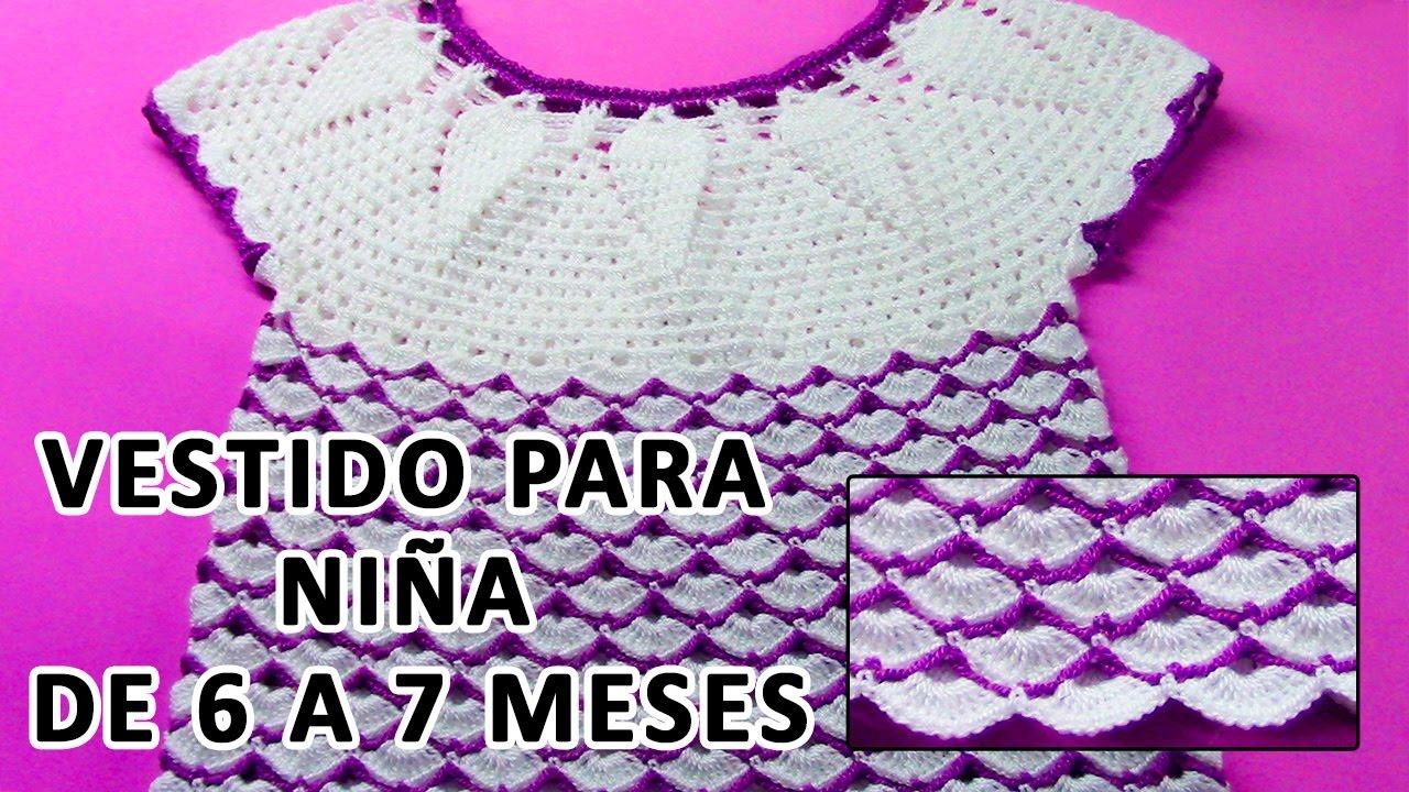 Vestido Tejido A Crochet Para Niña De 6 A 7 Meses En Punto Piñas Y Abanicos Paso A Paso