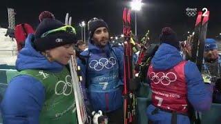 JO 2018 : Biathlon - Relais mixte / Pour l'équipe de France